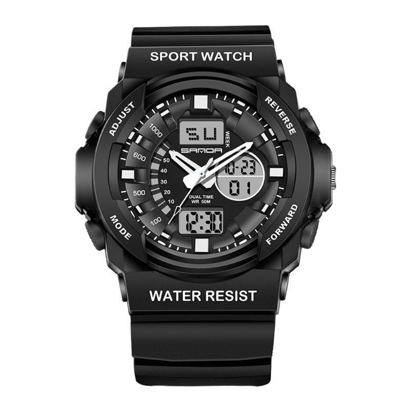 Homens Dupla Display Relógios de Relógios DigTal Relógio Mens Ao Ar Livre Esporte Impermeável LED Relógio Diving Relógios Eletrônicos Luminosos 2021