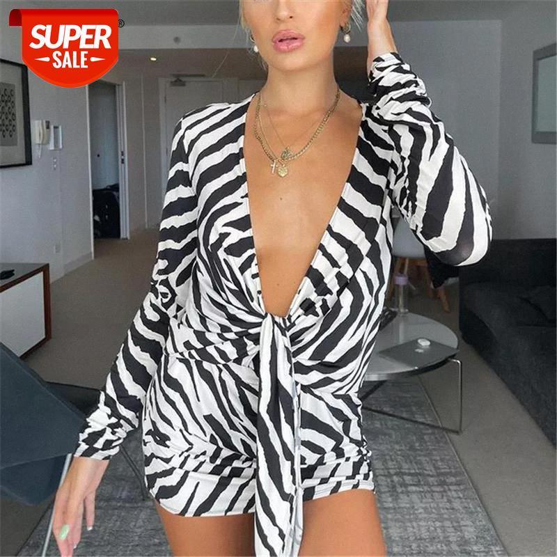 Elbise Yaz Zebra Baskılı Gömlek Kadınlar Için Seksi Derin V Yaka Beachwear Tatil Bayanlar Uzun Kollu Kıyafetler Parti # CC6E
