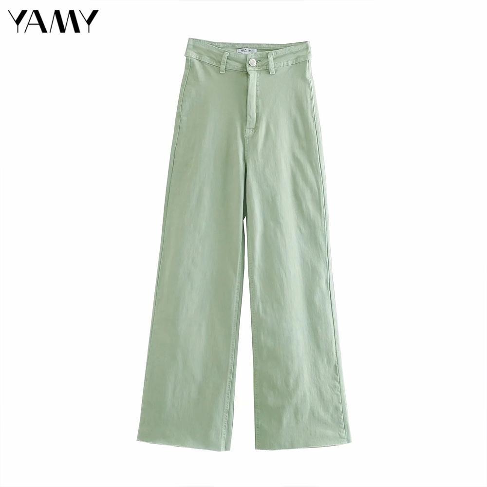 Mujer alta cintura jeans vintage casual zip suelto longitud completa pierna ancha pantalones de mezclilla hembra otoño verde calle calle