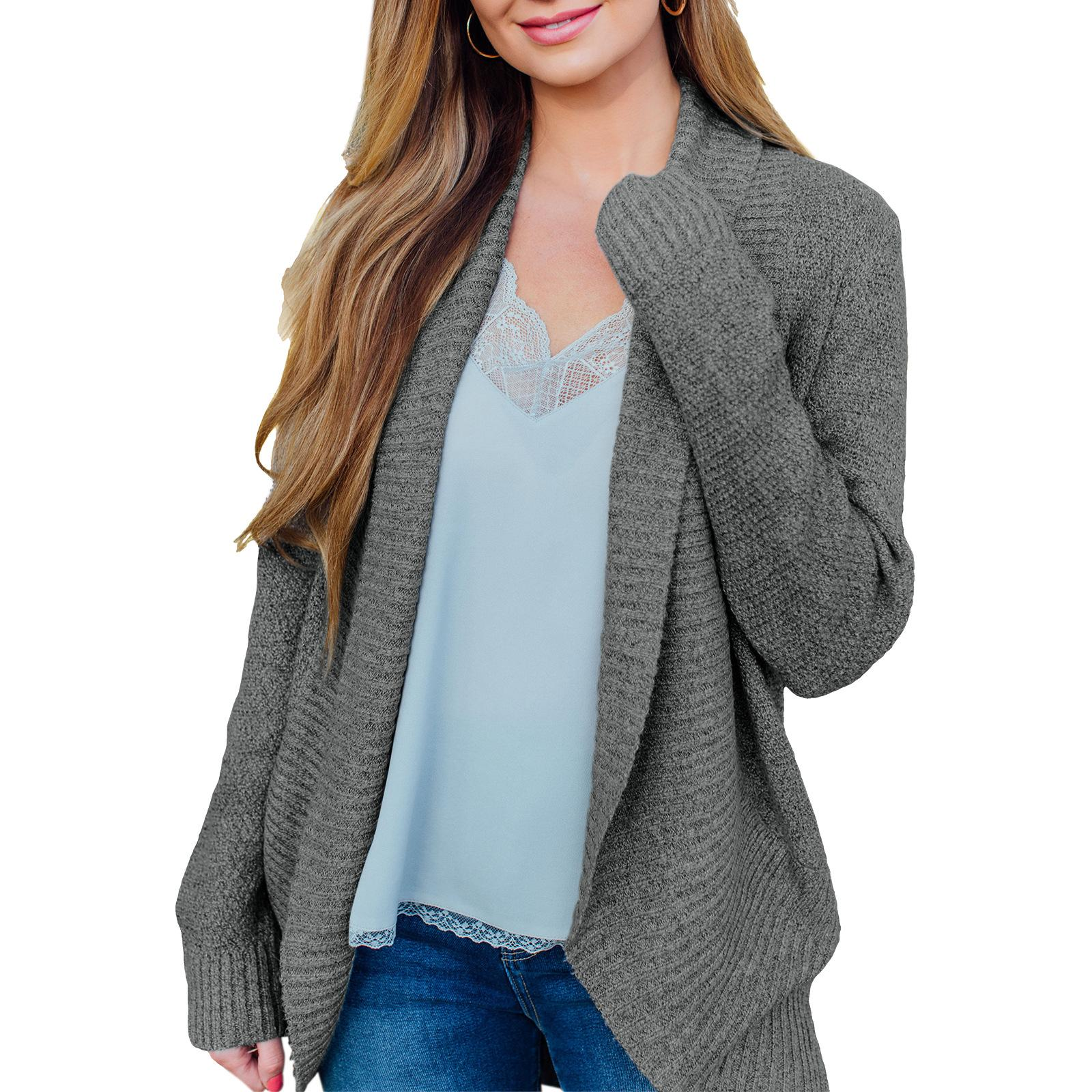2021 new Women's sweaters retro loose thick needle cardigan autumn and winter jacket