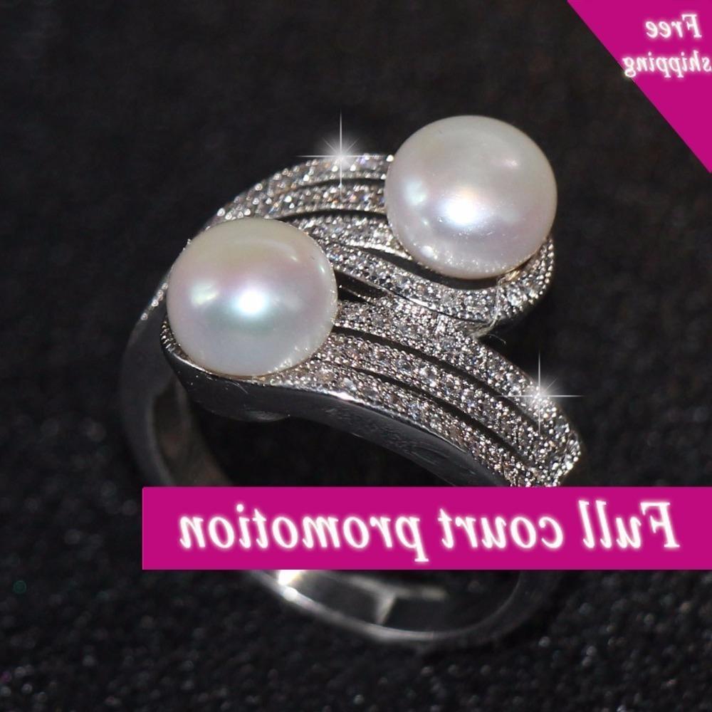 Taille 5-9 Grossistes Bijoux de luxe de haute qualité de haute qualité Simulé Perle Perle Clear Zirconia Cz 0Party Femmes Bruiloft Banding Poison