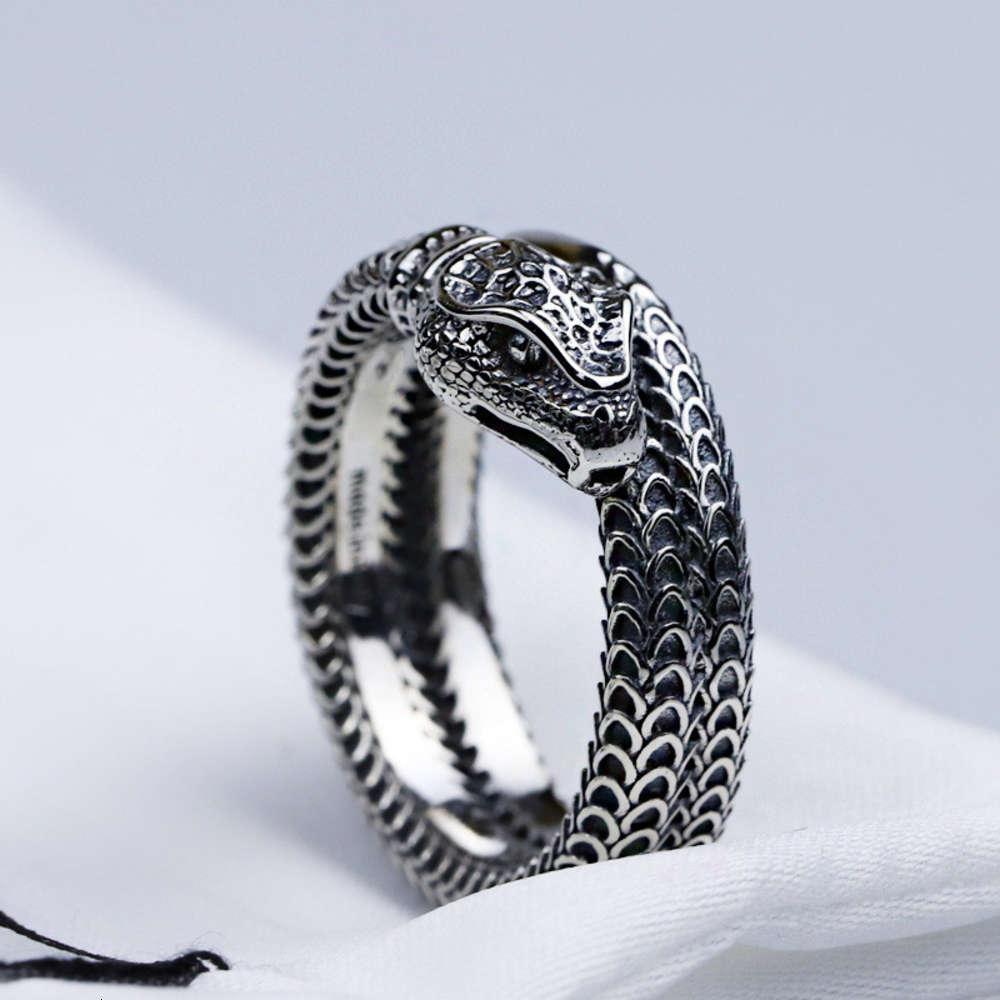 S925 Silver Snake Bague Nouveau Three-Dimensionnel King Snake Spirking Spirking Snake Bague Rétro Trend Hommes et Femmes Bague, Emballage exquis