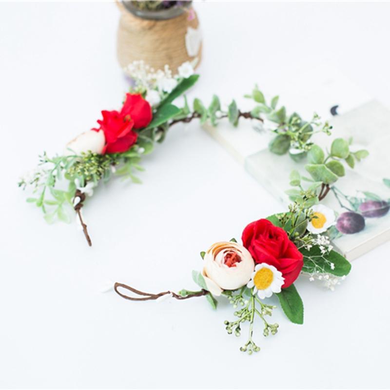 Yapay Garland Çelenk Kız Çiçek Taç Beyaz Kırmızı Gül Şakayık Düğün Dekorasyon Gelin Başlığı Şapkalar Parti için Tatil Aksesuarları