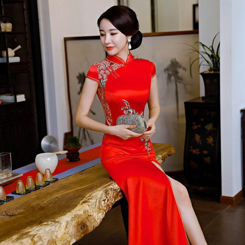 Rote Party Abend Lange Cheongsam Retro Sexy Dünnes Kleid Ehe Kleid Chinesische Stil Hochzeit Qipao Mode Dame Kleidung Vestido Ethnic Clothin