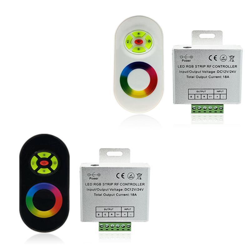 12 V-24 V Kablosuz RF Dokunmatik Panel Dimmer RGB Uzaktan Kumanda 18A 3528 LED Şerit Işık Kontrolörleri Için
