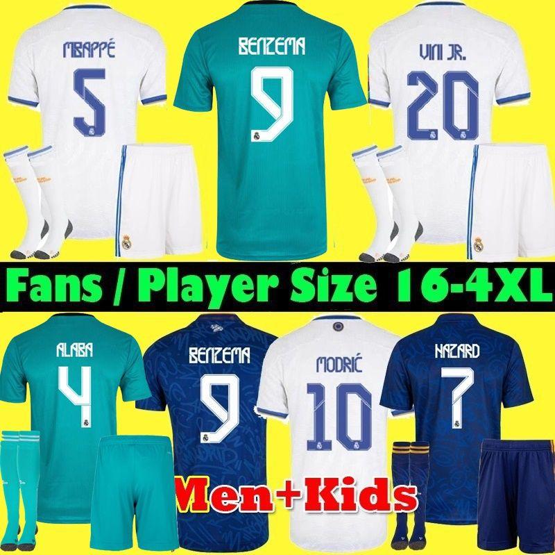 S-4XL Maglia REAL MADRID 21 22 Maglia da calcio giocatore + tifoso 2021 2022 ALABA HAZARD SERGIO RAMOS BENZEMA ASENSIO MODRIC MARCELO camiseta uomo + kit per bambini