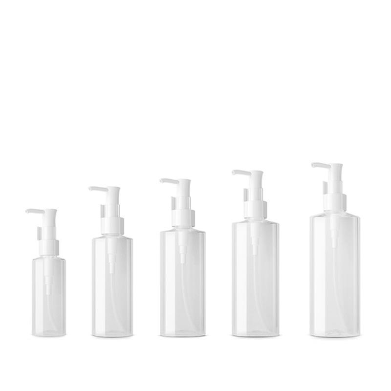 Speicherflaschen Gläser Leere Hautpflegemittel Ölpumpe Flache Kunststofflotion Cremespender Klar Container Shampoo Makeup Entferner Verpackung Flasche