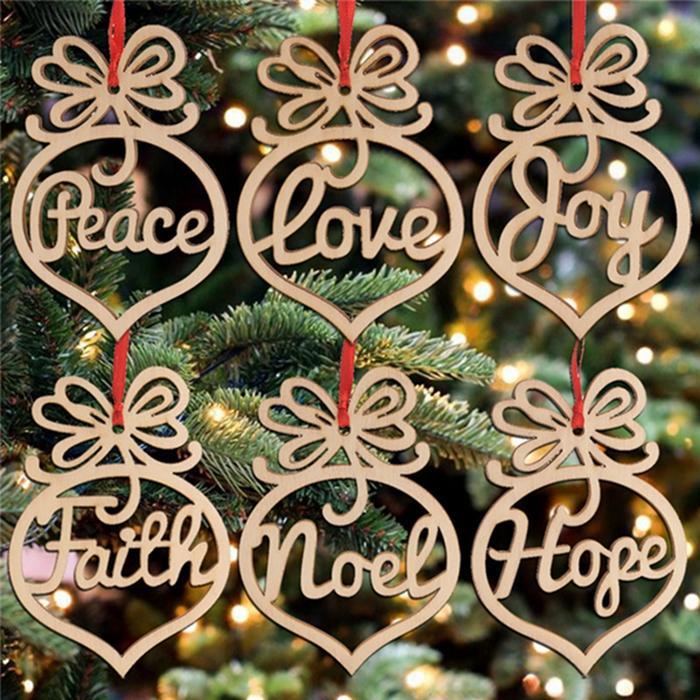 Carta de madera Iglesia Corazón Burbuja patrón Adorno Árbol de Navidad Decoraciones Adornos del Festival Inicio Regalo Colgante 6 PC por bolsa ZWL235