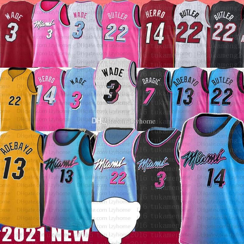Men's cucito BAM 13 Adebayo Jimmy Tyler 22 Butler City Basket Jersey 14 Herro Dwyane 3 Wade Goran 7 Dragic Kendrick Robinson Nunn Shirt Giallo Guadagna Guadagna