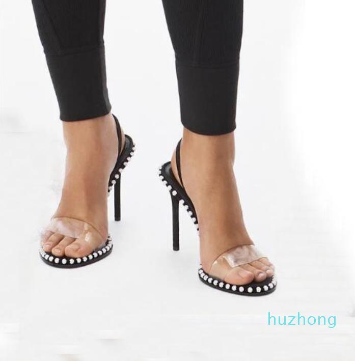 Moda-NOVA Kristal Süslenmiş Sandal Lüks Tasarımcı Sandalet Slingback 90mm Yüksek Topuklu Elbise Ayakkabı Boyutu 34 - 40 TicaretBear