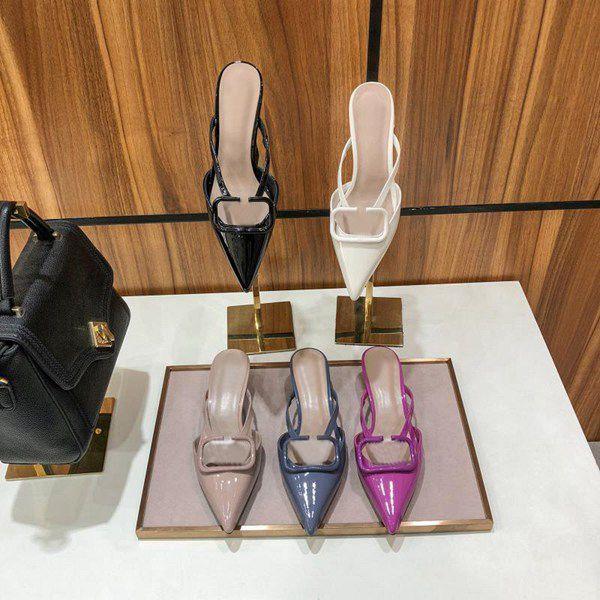 Sandales à talons hauts Gladiator Cuir Femmes Sandales Fine talon Haute Chaussures Haute Chaussures Mode Sexy Lettre En Cuir Femme Chaussures Grande taille 35-42
