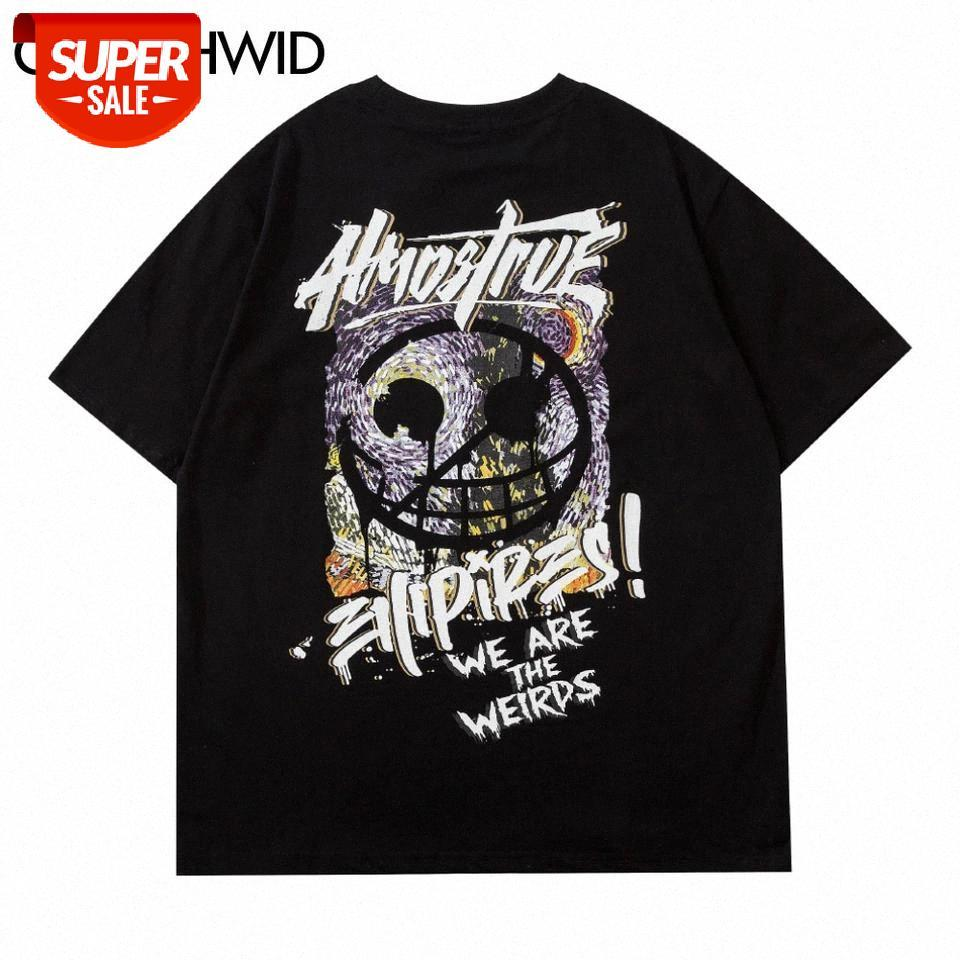 Streetwear camisetas camisetas creativa graffiti punk roca gótico manga corta camisetas moda casual algodón hombre harajuku tops # sc8n