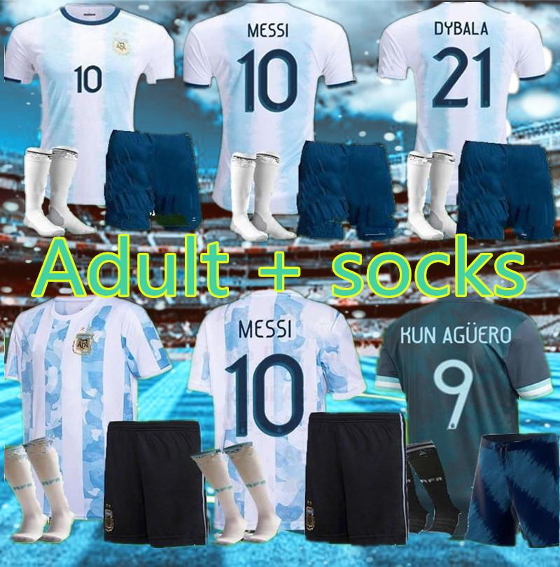 Adulto + Meias 2021 Argentina Soccer Jersey 20 21 Copa Home Away Camisa de Futebol Messi Dybala Aguero Lo Celso Martinez TagliaFico Men + Kit Kit uniformes
