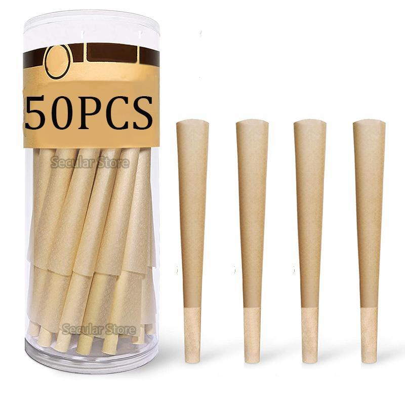 Smoking Pipes 50pcs Pre-Rolled Cones Rolling Papers 110 Mm DIY Cigarette Paper Storage Box Smoke Use Tool Accessories