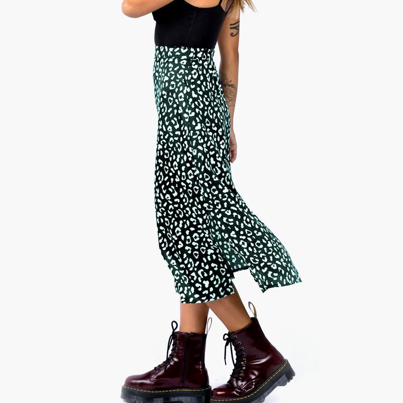 Faldas 2021 Mujeres Verde Leopardo Imprimir Falda larga Fashion Elegante Split Con Cremallera Invisible Ropa Verano