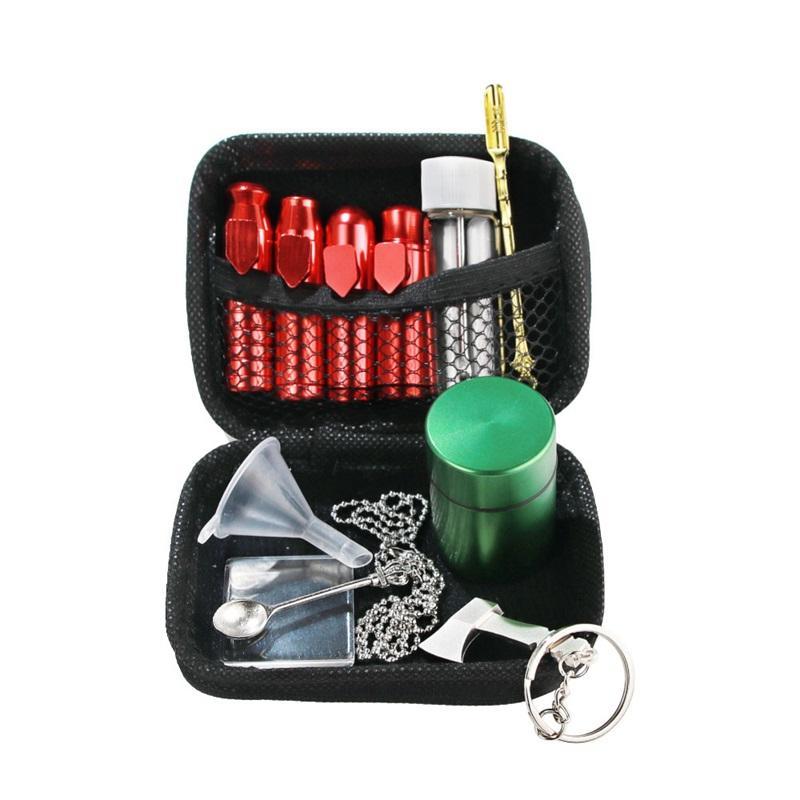 Tobacco Snuff Snorter Kit Aluminum Snuff Snorter Sniff Dispenser Nasal Metal Storage Container Jar Glass Bottle Stash Jar Metal Spoon 298 V2