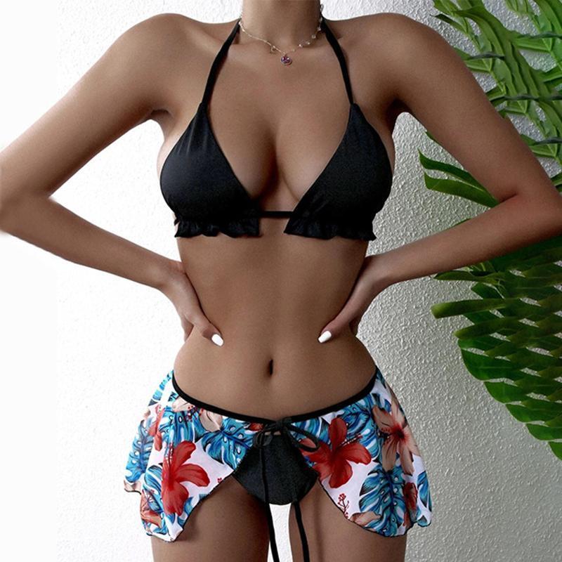Women's Swimwear Sexy Split Bikini Printing Swimsuit Push Up Biquini Halter Bathing Suit Beachwear Maillot De Bain 2021