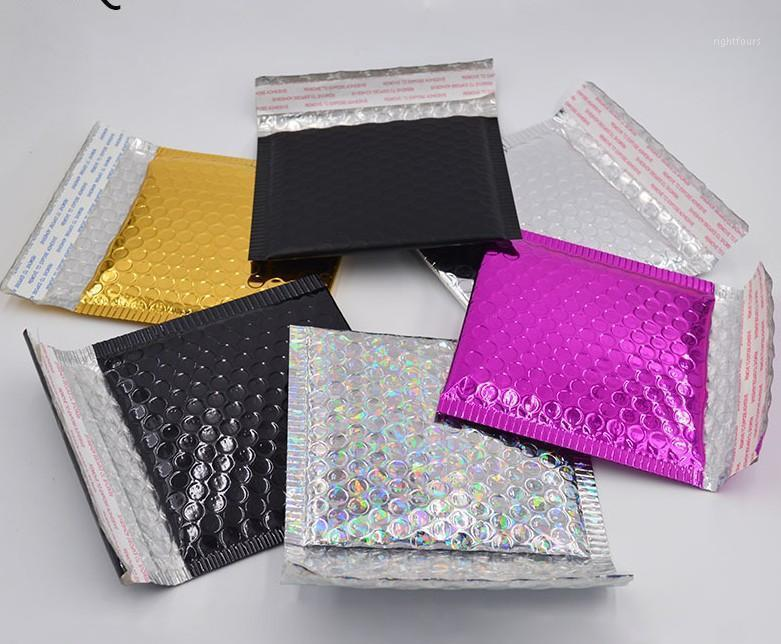 100 шт. 15 * 13 см Небольшая золотая алюминная фольга металлическая пузырьковая почталка доставки пузырь, мягкие конверты золотые подарочные упаковки пакет1