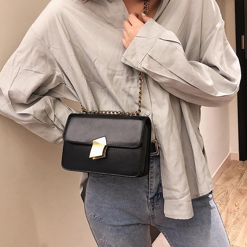 Fuahalu Mujeres Sólido Coreano Mini Cadena Estilo Crossbody Bolso Japonés Bloqueo Mensajero de cuero para bolsas y bolsas de aleta de alto grado PAJTB