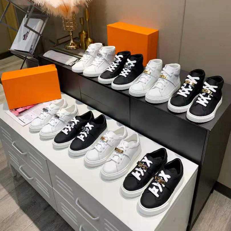2021 zapatillas de deporte de diseño oblicuo de las mujeres de las mujeres de los hombres de los hombres de la demostración de zapatillas de deporte alto de la zapatilla alta para hombre de cuero Casual de calidad superior de lujo Tamaño 35-41