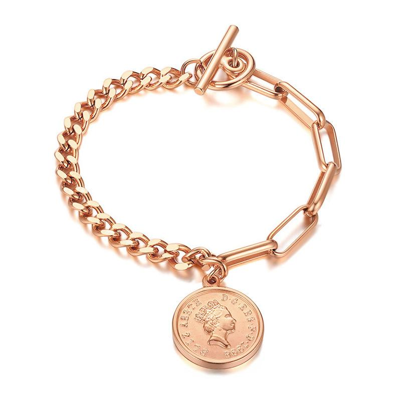 Thin Circle Charm Bracelet Female Trendy Jewelry Anti Allergy Stainless Steel Rectangle Link Chain Cute Bracelets For Her