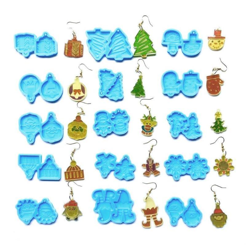 Other Home Decor Crystal Epoxy Resin Mold Earrings Pendant Casting Silicone Mould Handmade DIY Craft Jewelry Making Tool Christmas
