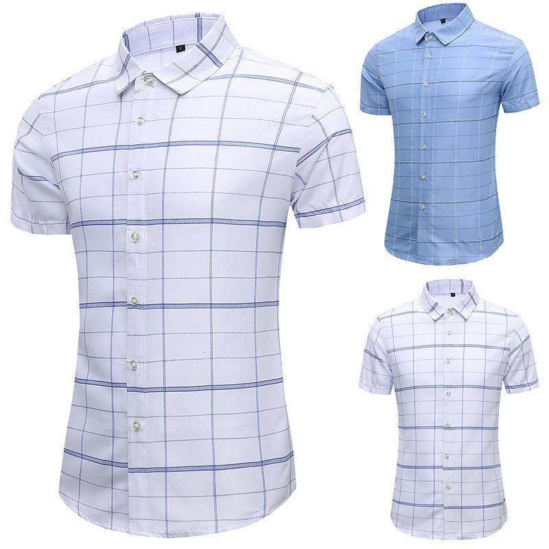 2021 primavera e verão grande manga curta casual juventude camisa xadrez dos homens transmissão ao vivo 36567rzy