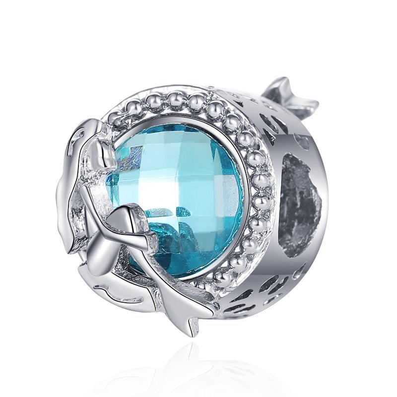 Fit Pandora Charm Bilezik Avrupa Gümüş Charms Boncuk Mavi Kedi Göz Taş Mermaid Kolye Kadınlar Için DIY Yılan Zincir Bileklik Kolye Takı