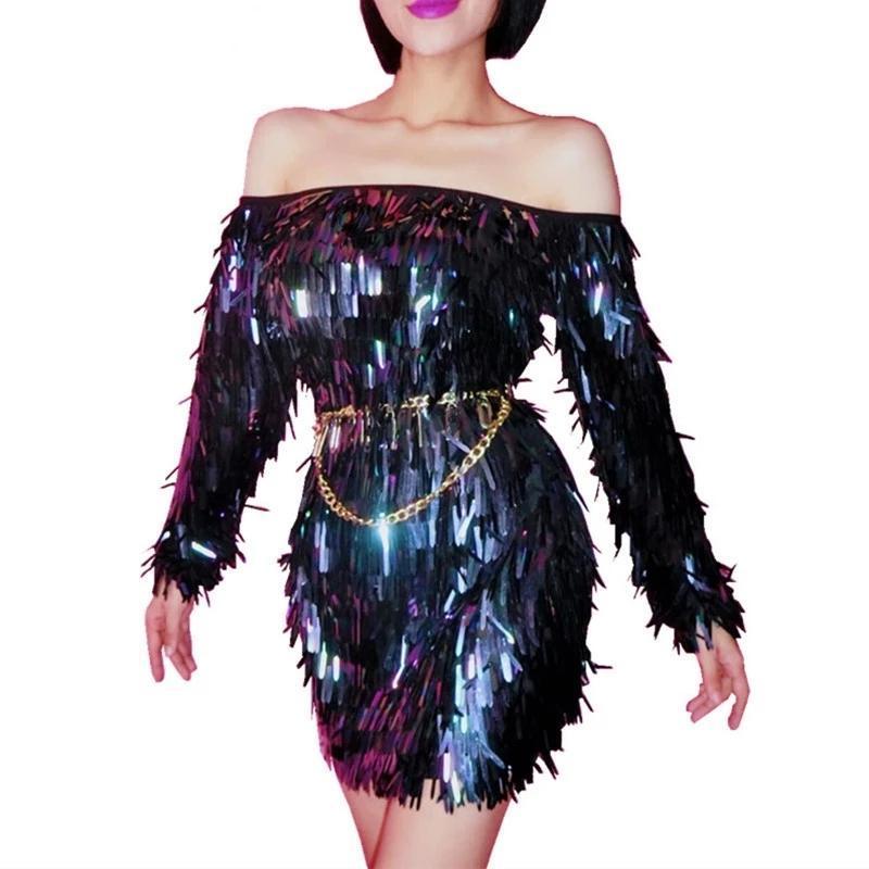 Черные блестки короткое платье женщин сценический костюм блестеть без бретелек бар женский певец DJ танцевальная носить выпускную звезду вечеринка одна кусочка повседневные платья