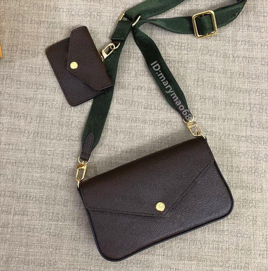 2021Women Bolsos de bolsos Diseñador Bolsas de hombro Crossbody Multi Pochette 3IN1min1Mini Monedero Lady Totes Messenger Bag Fashion Wallet Titular de la tarjeta con la caja