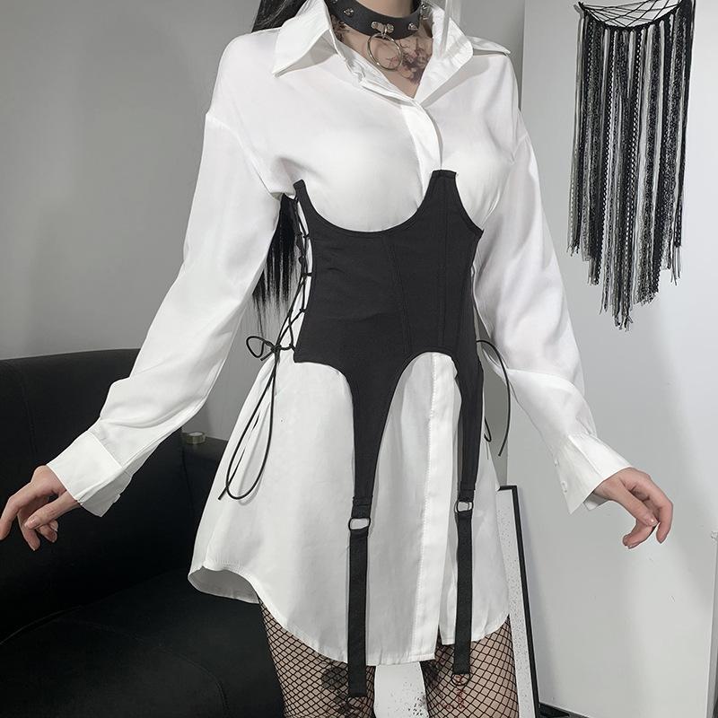 Y Démo Gothic Side Elastic Side Up Femmes Ceinture Techwear Techwear High Taille Sangles Robe Ceinture pour la mode féminine