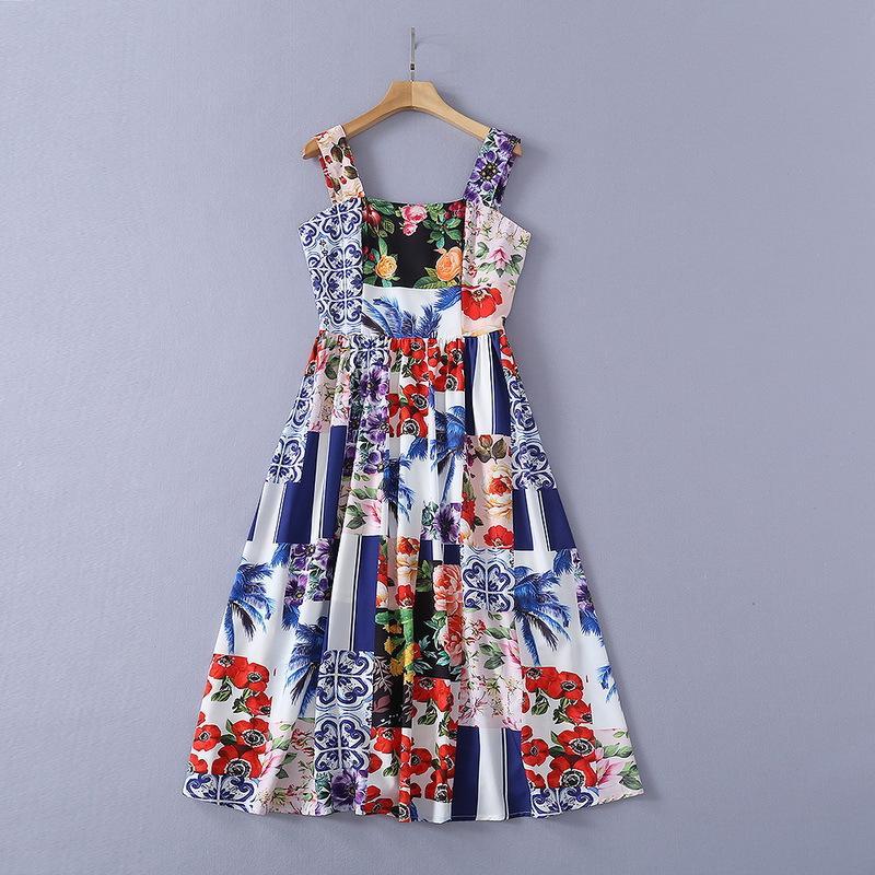 Tasarımcı Kayma Elbiseleri Avrupa ve Amerikan Moda Etek Yaz Yanlış Kapalı Damalı Renkli Baskı Askı Elbise