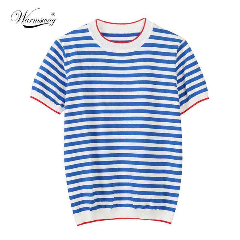 Isınma İnce Örme T Gömlek Kadın Giysileri 2021 Yaz Kadın Kısa Kollu Tees Çizgili Rahat T-shirt Kadın B-019 Tops