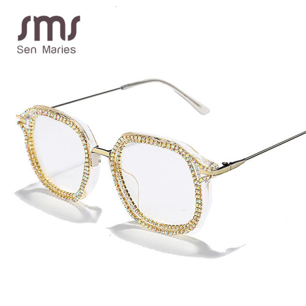 Molduras moda strass óculos de sol mulheres homens luxo diamante óculos proteção pode com miopia shade uv400 óculos uj35