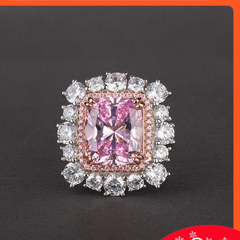 Los amantes del encanto 6ct rosa anillo de diamantes del zafiro original 925 de la plata esterlina de la banda de la banda de la boda para las mujeres joyas de los hombres
