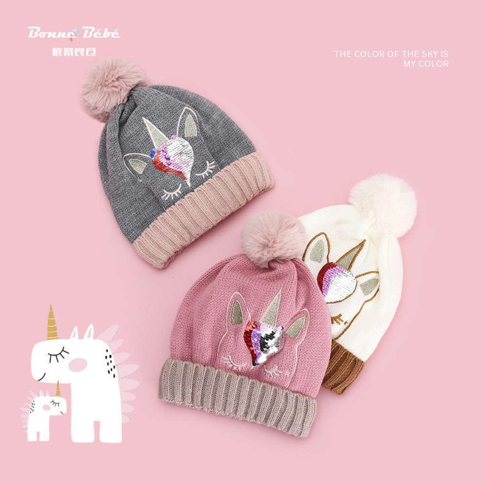 Caps de pelúcia outono inverno inverno morno unicórnio de cabelo bola meninos meninas lã bonitos chapéu de tricô