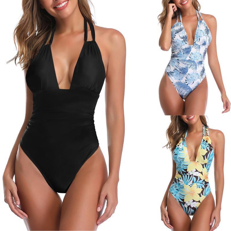 Swimwear feminino profundo decote em v biquíni maiô halter maiô terno 2021 monokini string sexy um pedaço de alto corte