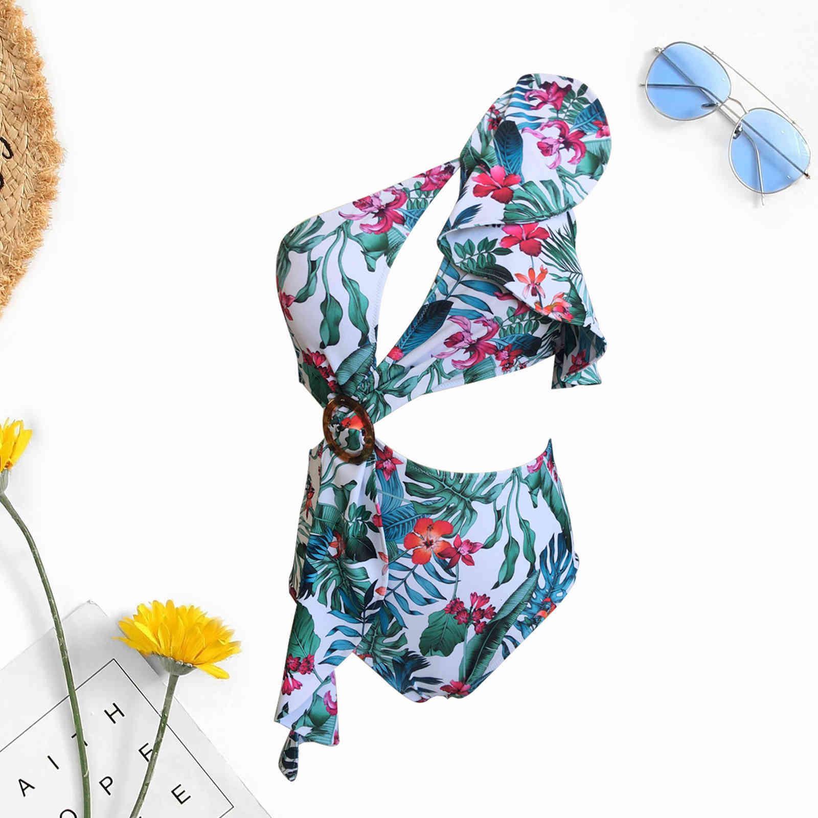 Trajes de baño Mujeres 2021 Traje de baño de una sola pieza Conservador de mujeres Cintura alta para mujer Abra el traje de baño abierto