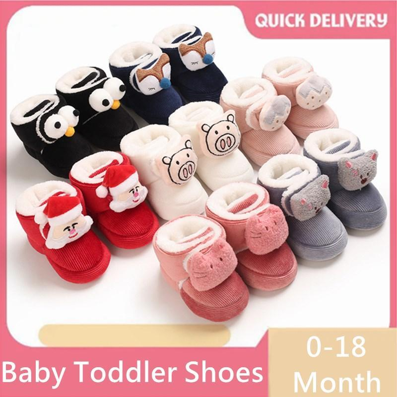 Baby Winter Boots Girl Boys Lindos Annimals Cálidos Zapatos Cálidos Toddler Fuzzy Balls First Walkers Kid 0-1 años