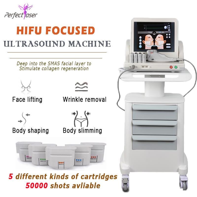 5 خرطوشة 50000 طلقات Ultrasound Hifu 2021 الكورية المهنية الوجه الجسم SMAS رفع آلة إزالة التجاعيد المضادة للتجاعيد