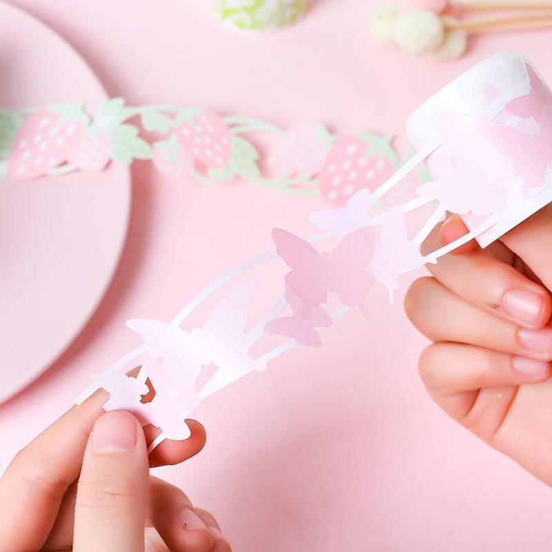 3m lang 6 Stil Erdbeerwolke Vogel Schmetterling Design Dekoration Tape DIY Scrapbook Aufkleber Label Masking Wohnkultur Geschenk Wrap