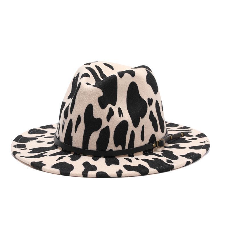Kadınlar için Fedora Şapka Düz Geniş Ağız Yün Keçe Jazz Keçe Siyah Perçinler Kemer İnekler Erkekler Panama Düğün Kap Şapka