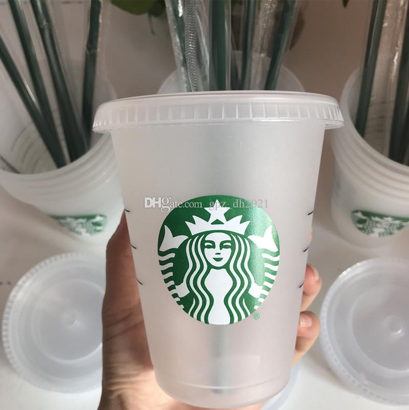 Starbucks 16oz 24 / oz tumblers القدح عصير الشرب مع الشفاه و drinkware القش سحر كأس القهوة كوستوم شفاف البلاستيك 100 قطع dhl