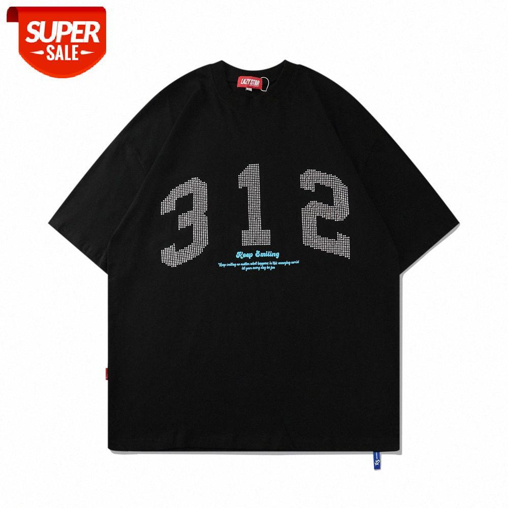 뜨거운 다이아몬드 디지털 인쇄 반팔 티셔츠 남성용 ins 거리 패션 브랜드 느슨한 둥근 목 5 점 슬리브 여름 추세 Com # 0b0s