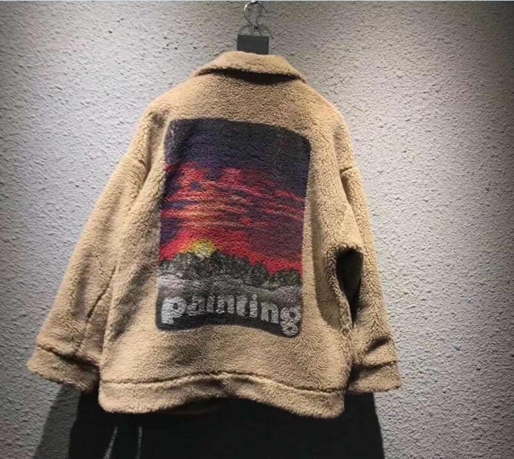 Pintura Pôr Do Sol Impressão Mens Mulheres Quente Cordeiro Pele Casacos Mens Mens Moda Marca Japão Doublet Coats GD Winter Streetwear Outerwear Tops