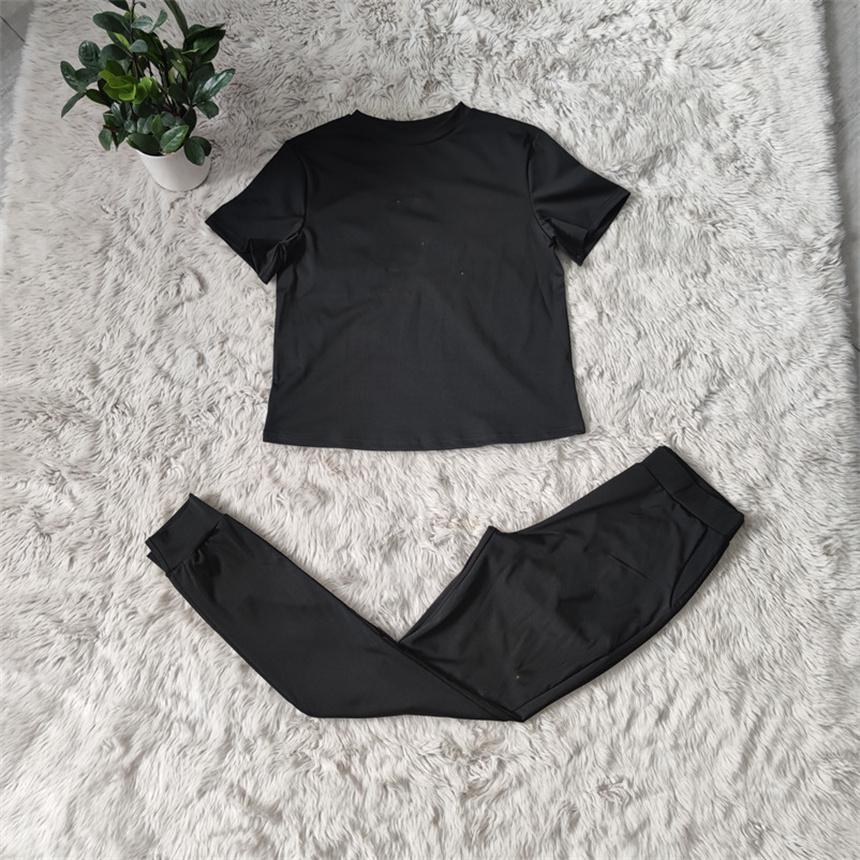 Summer Women Sweatsuits casual tracksuits Plus size 2XL leggings Two piece sets short sleeve t shirts+slim pants solid color outfits 5025