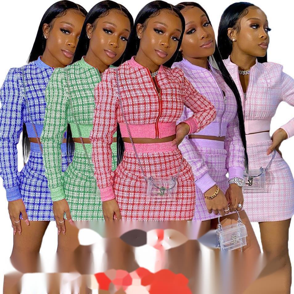 Damenmode Designer Kleidung Digitaldruckgewinde Langarm Two Piece Kleider Anzug Für Frauen Die neue Auflistung DHL
