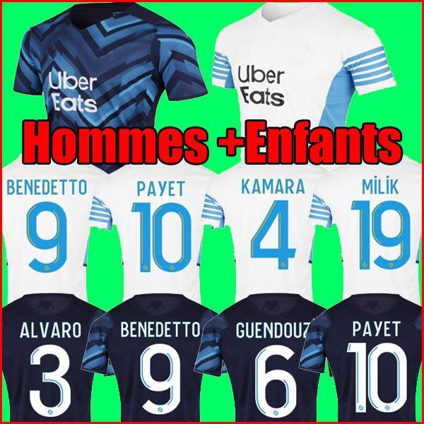 21 22 Olympique de Marseille Soccer Jersey 2021 2022 OM Gerson Guendouzi Milik Luis Henrique Maillot القدم كامارا لكرة القدم قميص Payet Konrad الرجال والاطفال مجموعات موحدة