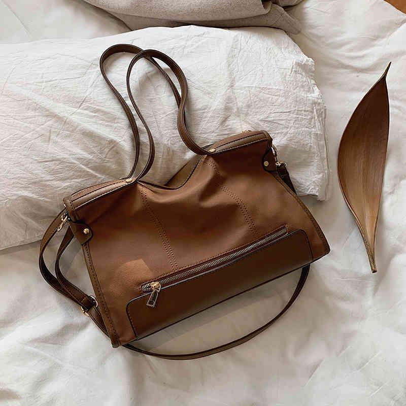 Vintage Women Handbags Designer Shoulder Bag Luxury Matte Leather Crossbody Messenger Bag Female Large Capacity Tote Purses 2021 C0326
