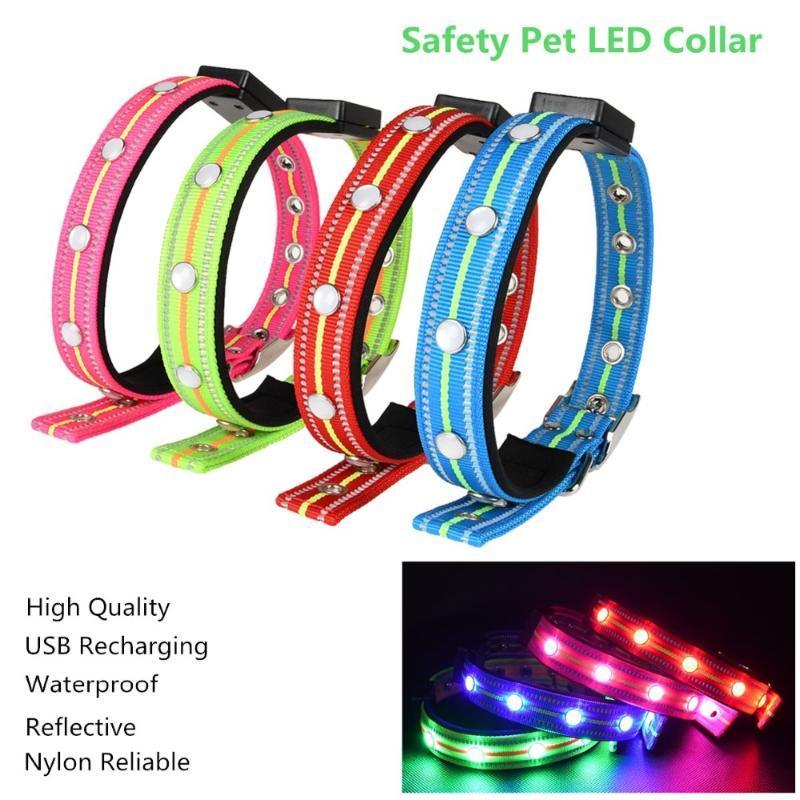 Nylon impermeável animal de estimação cão levou colar USB carregando filhote de cachorro reflexivo cães gato gola gola segura luminosa colar coleiras